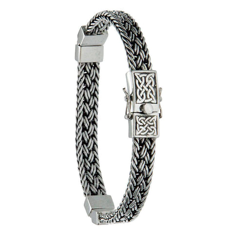 "Keith Jack Jewelry-Celtic Weave Eternity Hinged 8"" Bracelet, Sterling Silver"