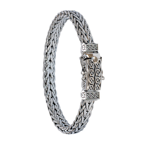 "Celtic Square Dragon Weave 7.5"" Bracelet, Sterling Silver"