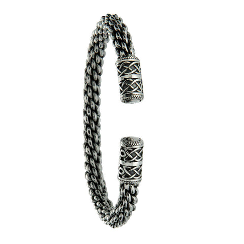 "Celtic Torc Dragon Weave 8.5"" Bangle, Sterling Silver"