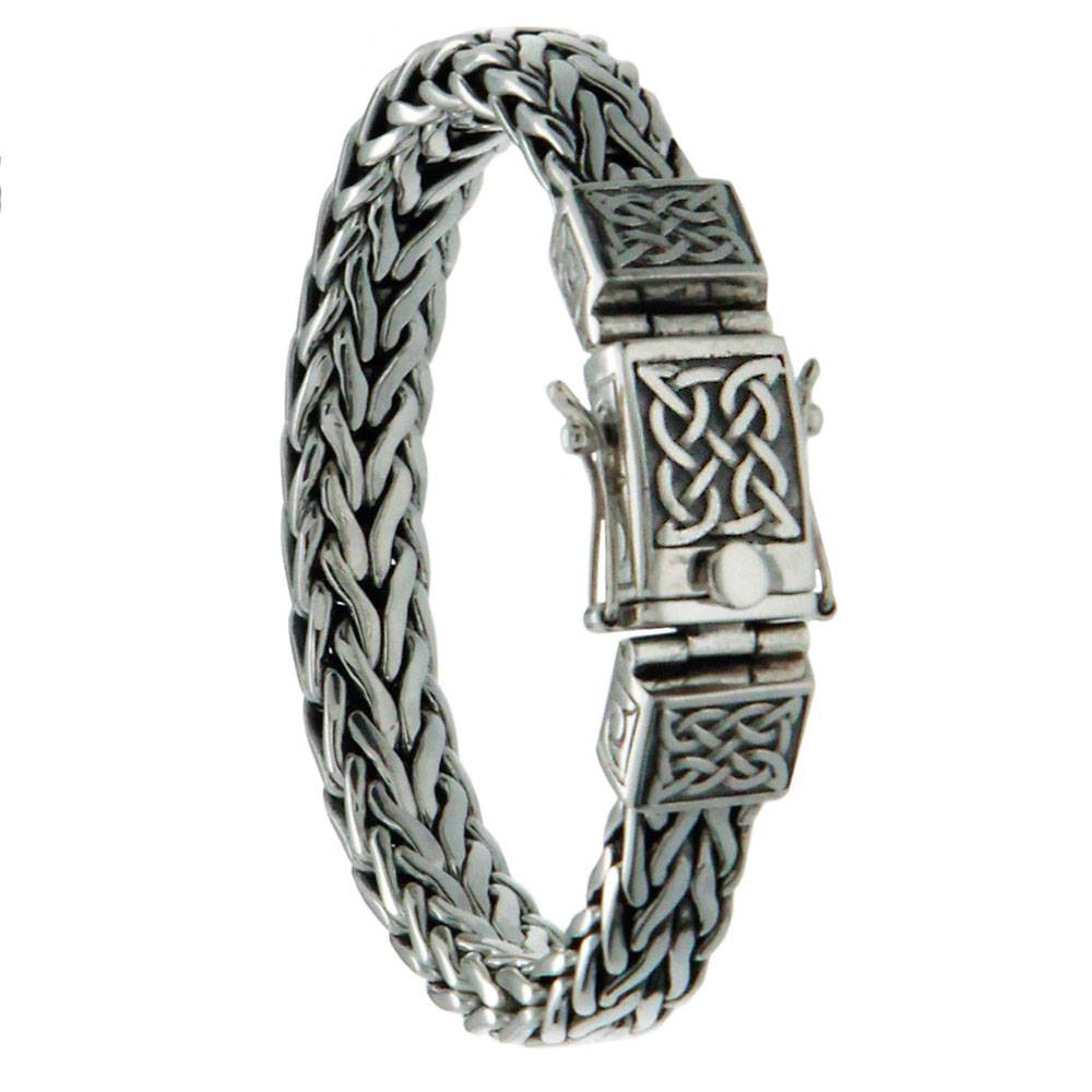 "Keith Jack Jewelry-Heavy Celtic Square Dragon Weave 8"" Bracelet, Sterling Silver"