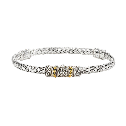 "Dragon Weave Eternity 7.5"" Bracelet, Sterling Silver & 18k Gold"