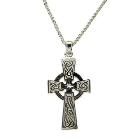 Celtic Cross Large with Star Necklace, Sterling Silver