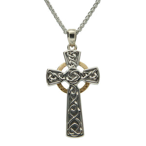 Circle Celtic Large Cross Necklace, Oxidized Sterling Silver & 10k Gold