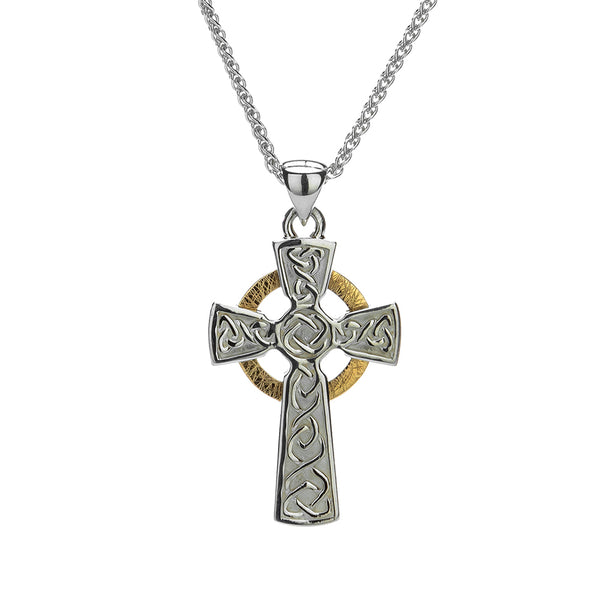 Circle Celtic Cross Small Necklace, Oxidized Sterling Silver & 10k Gold