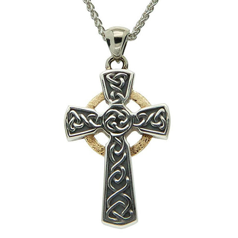 Keith Jack Jewelry-Circle Celtic Cross Small Necklace, Oxidized Sterling Silver & 10k Gold