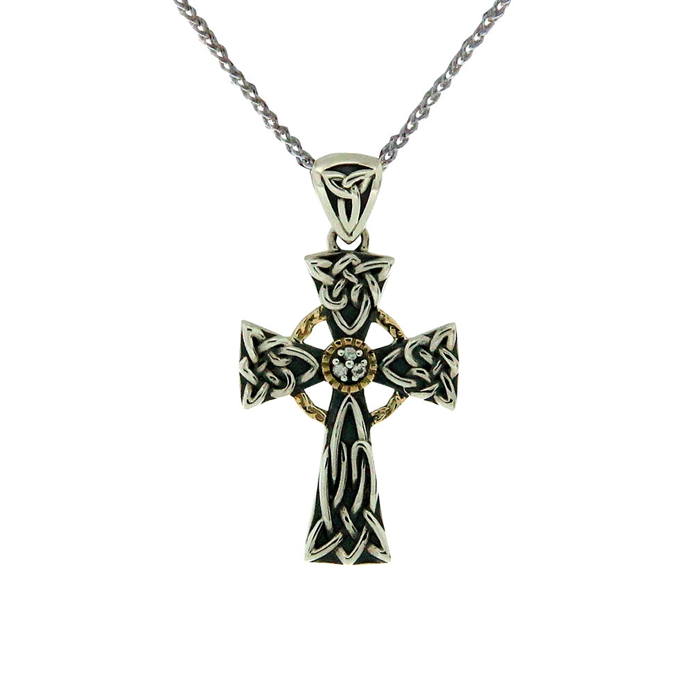 Keith Jack Jewelry-Celtic Cross Necklace with White Sapphire, Oxidized Silver & 10k Gold