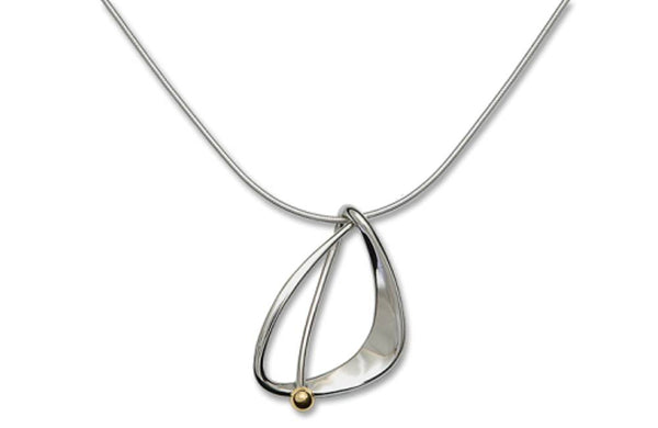 Ed Levin Jewelry-Necklace-Delta Pendant Necklace, Sterling Silver with Gold Ball