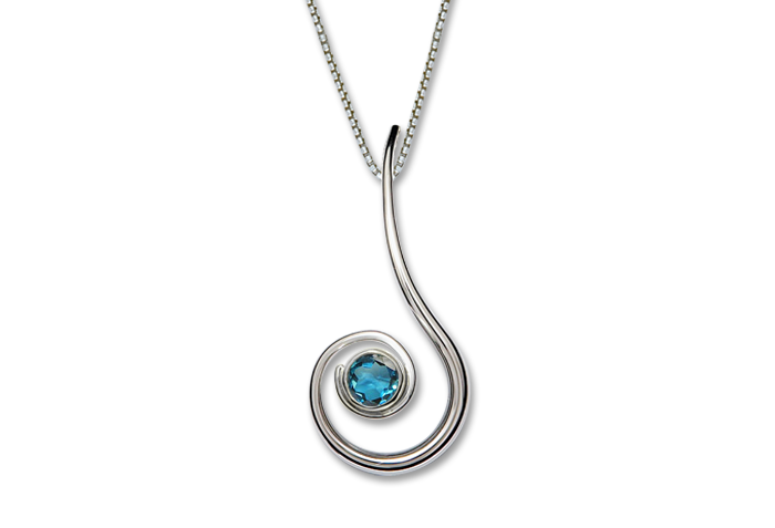 Dancing Clef Necklace, Blue Topaz or Garnet