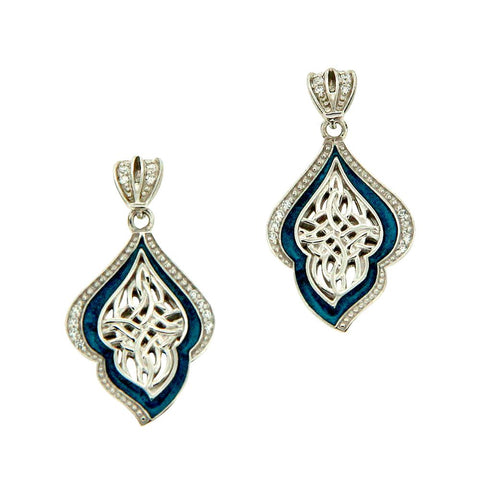 Path of Life Blue Enamel Earrings