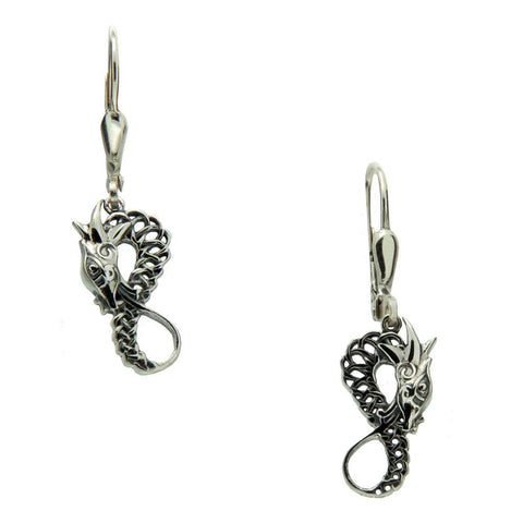 Dragon Leverback Earrings, Sterling Silver
