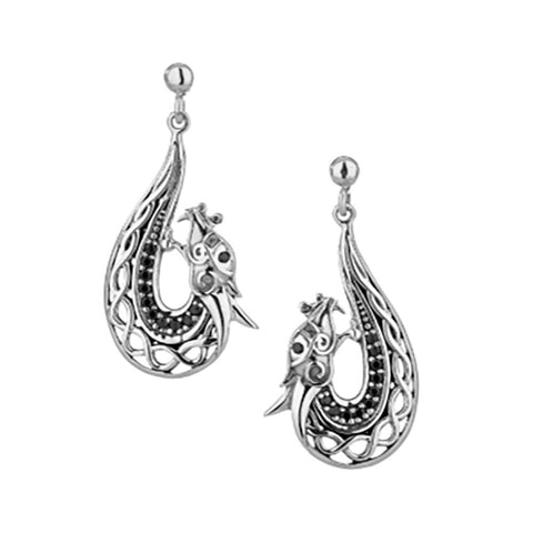 Dragon Dangle Earrings, Sterling Silver