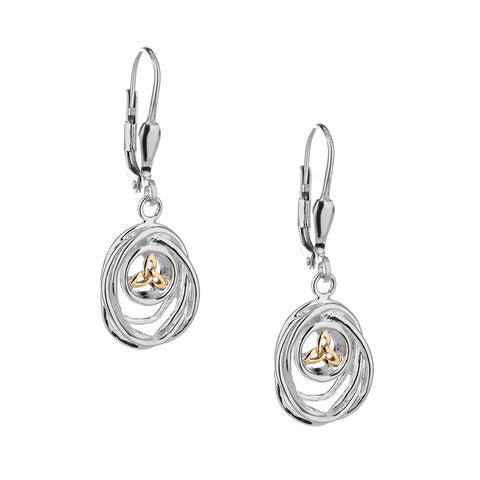 Celtic Cradle of Life Leverback Drop Earrings, Sterling Silver & 10k Gold