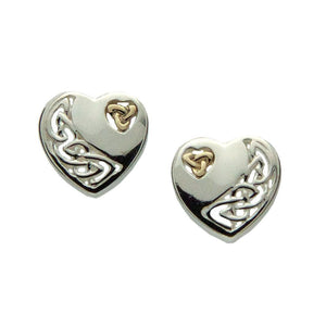 Celtic Heart Post Earrings, Sterling Silver with 10k Gold