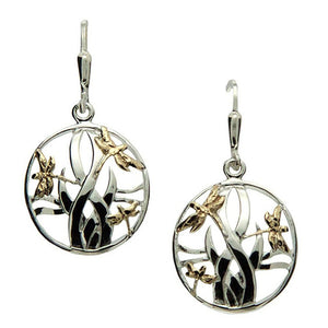 Keith Jack Jewelry-Dragonfly In Reeds Leverback Earrings, Sterling Silver & 10k Gold