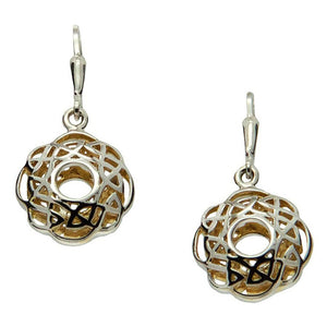 Keith Jack Jewelry-Window to the Soul Scalloped Leverback Earrings, Sterling Silver & 22k Gilded Gold