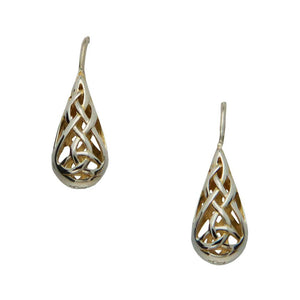 Celtic Trinity Knot Hook Earrings, Sterling Silver and 22k Gilded Gold