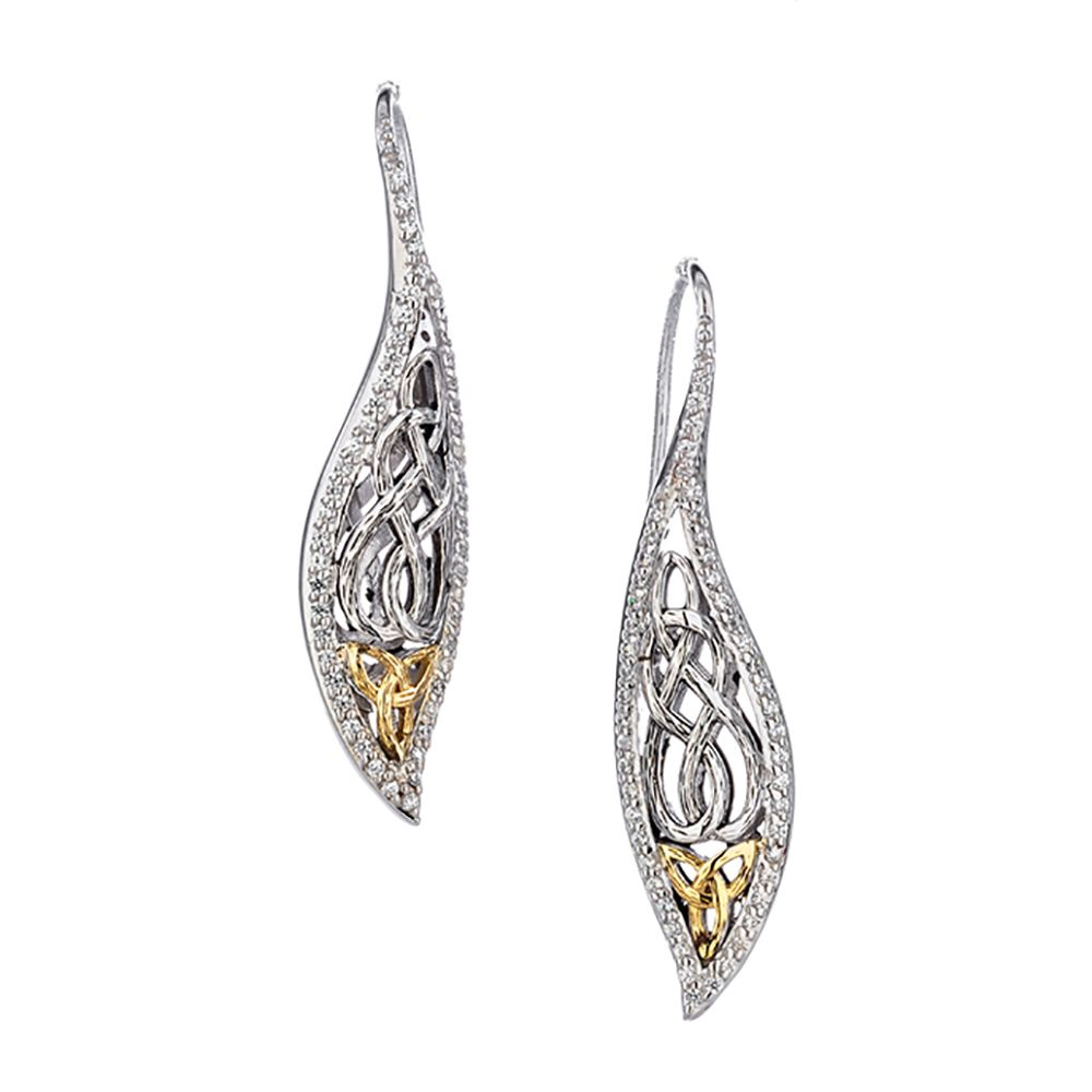 Barked Leaf Earrings, Sterling Silver with 10k Gold