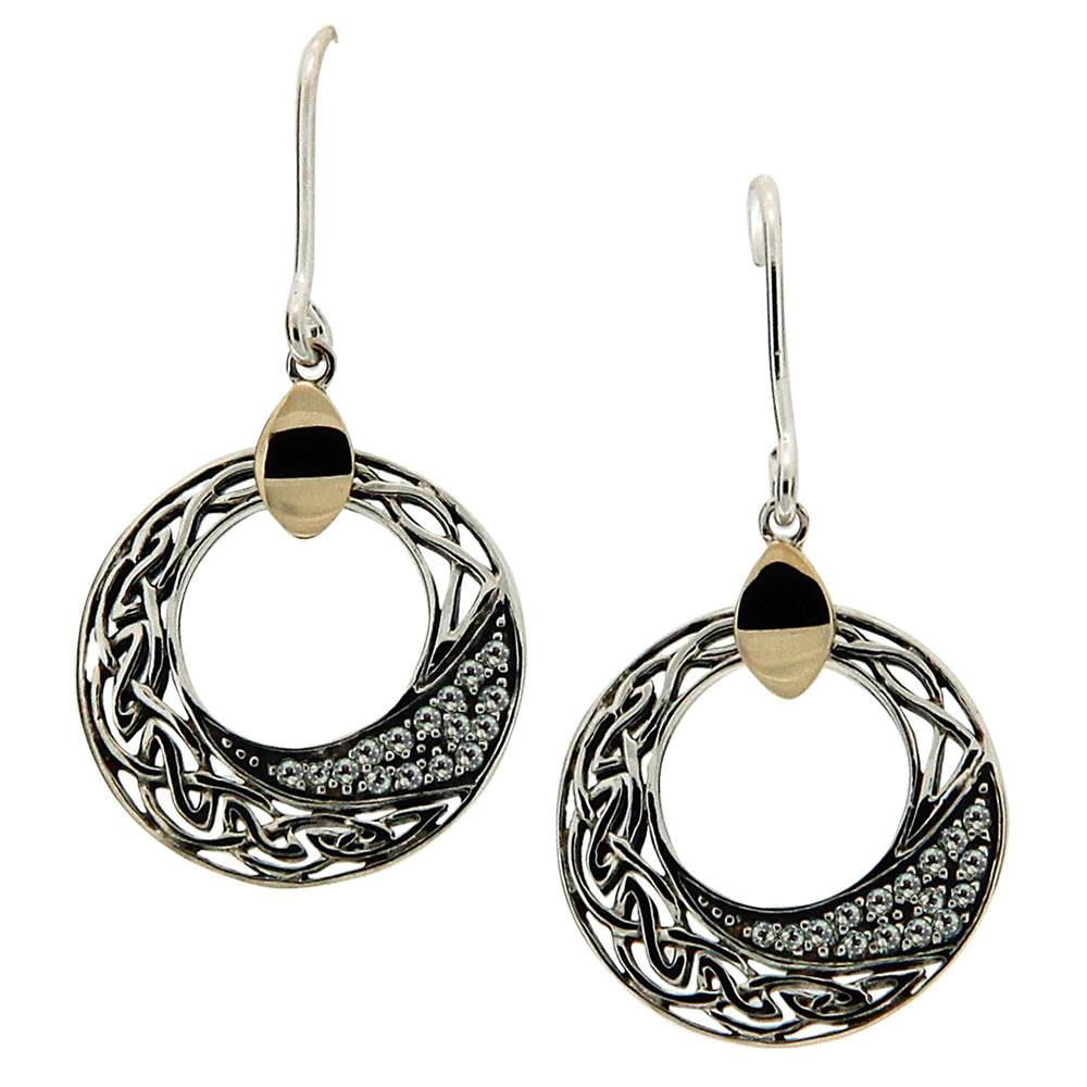 Keith Jack Jewelry-Celtic Comet White Topaz Round Earrings, Sterling Silver & 10k Gold