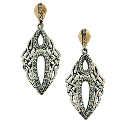 Keith Jack Jewelry-Gateway Earrings, Oxidized Sterling Silver, 10k Gold & Cubic Zirconia