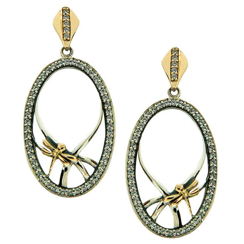 Keith Jack Jewelry-Dragonfly Gateway Earrings, Oxidized Sterling Silver, 10k Gold & Cubic Zirconia