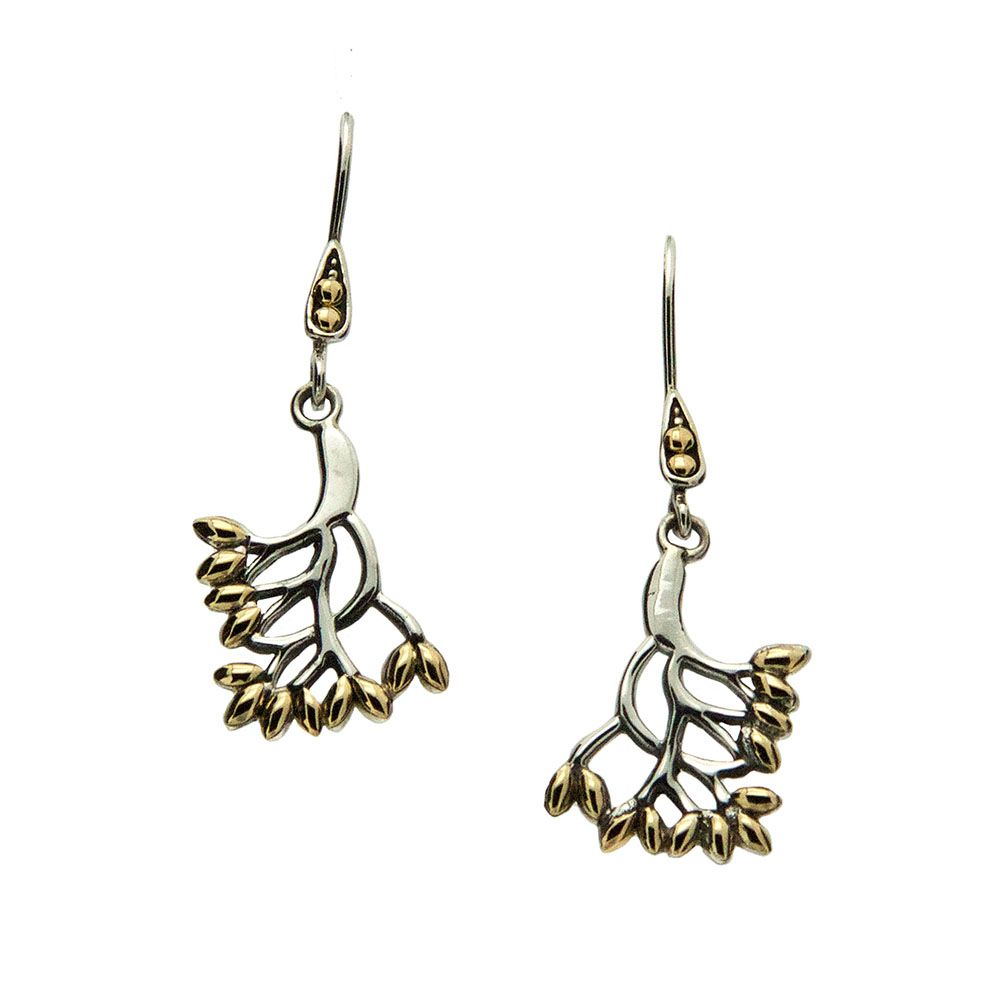Tree of Life Hook Earrings, Sterling Silver & 18k Gold