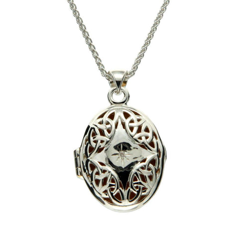 Gilded Trinity Diamond Locket Necklace, Sterling Silver & Gilded 22k Gold