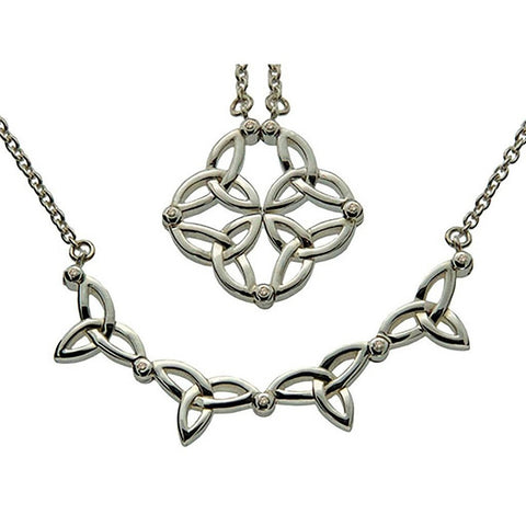 Diamond 2-Necklaces-In-1 Synergy Trinity Necklet, Sterling Silver