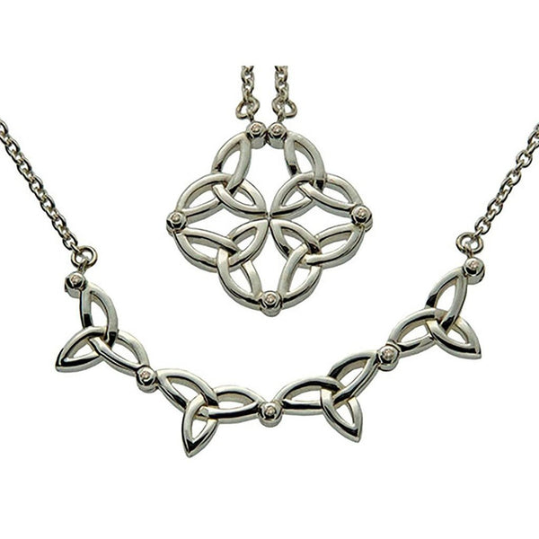 Keith Jack Jewelry-Diamond 2-Necklaces-In-1 Synergy Trinity Necklet, Sterling Silver-teklaestelle