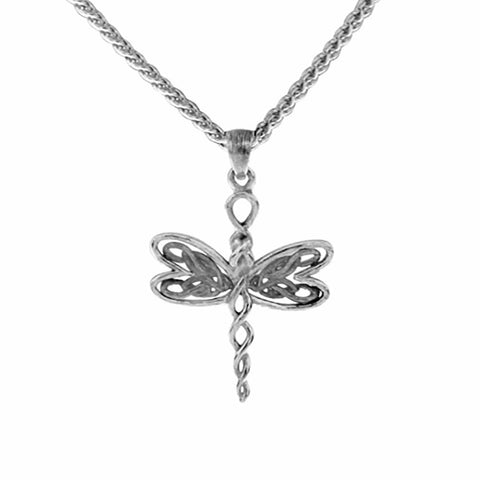 Dragonfly Small Pendant Necklace, Sterling Silver