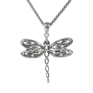 Dragonfly Large Pendant Necklace, Sterling Silver