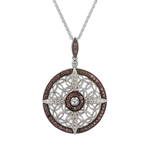 Night & Day Round Medium Necklace, Sterling Silver