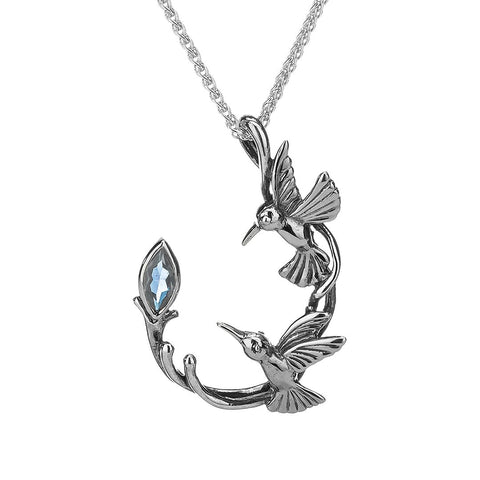Hummingbird Necklace, Sterling Silver with Blue Topaz