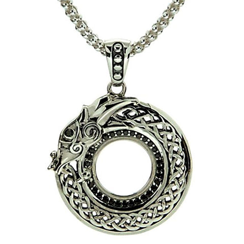 Dragon Pendant Necklace, Sterling Silver