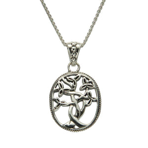 Tree of Life Necklace with Trinity Knot Leaves, Sterling Silver
