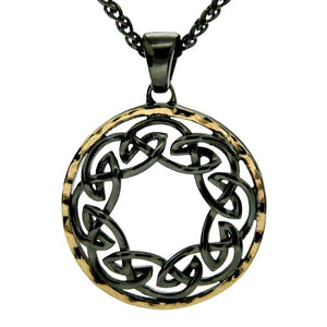 Keith Jack Jewelry-Eternity Hammered Necklace, Rhuthanium Sterling Silver & 10k Gold