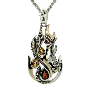Keith Jack Jewelry-Fire Element Necklace with Garnet, Citrine and Rhodolite, Sterling Silver & 10k Gold