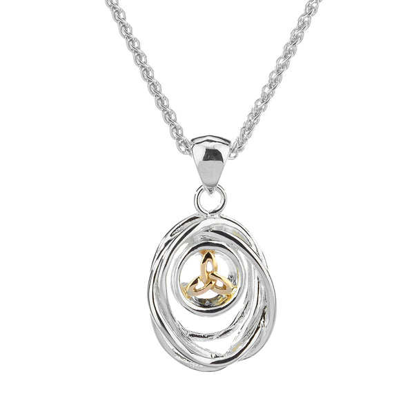 Celtic Cradle of Life Necklace, Sterling Silver & 10k Gold