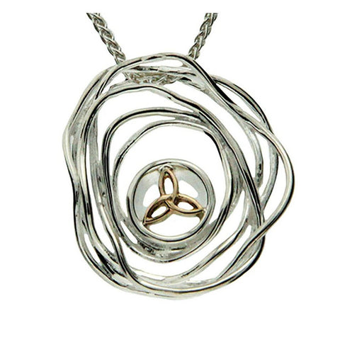 Keith Jack Jewelry-Celtic Cradle of Life Large Necklace, Sterling Silver & 10k Gold