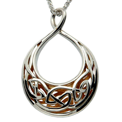 Keith Jack Jewelry-Window to the Soul Large Teardrop Necklace, Sterling Silver & 22k Gilded Gold