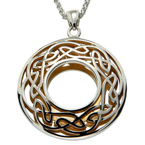 Keith Jack Jewelry-Window to the Soul Large Round Necklace, Sterling Silver & 22k Gilded Gold