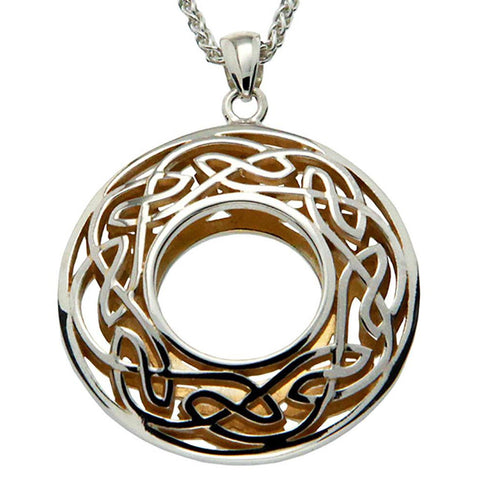 Window to the Soul Large Round Necklace, Sterling Silver & 22k Gilded Gold