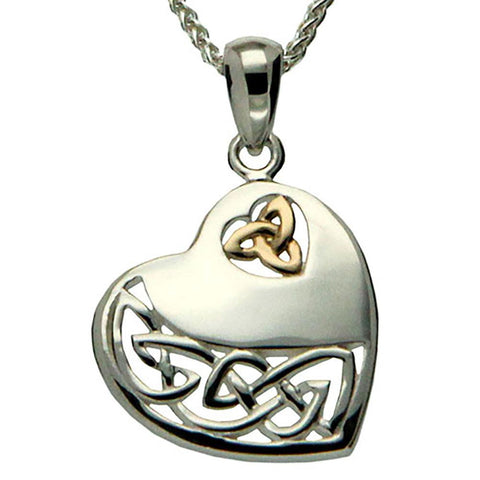 Keith Jack Jewelry-Celtic Heart Necklace, Sterling Silver & 10k Gold