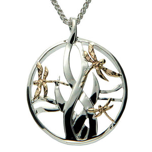 Keith Jack Jewelry-Dragonfly in Reeds Small Necklace, Sterling Silver & 10k Gold
