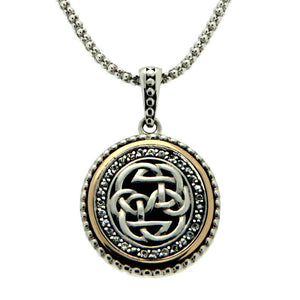 Lewis Knot - Path of Life Necklace with White Sapphires, Sterling Silver & 10k Gold