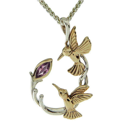 Keith Jack Jewelry-Double Hummingbird Necklace with Marquis Rhodolite Garnet, Sterling Silver & 10k Gold