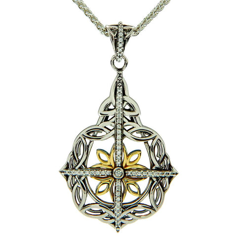 Keith Jack Jewelry-Floral Cross Necklace, Sterling Silver, 10k Gold & White Cubic Zirconia