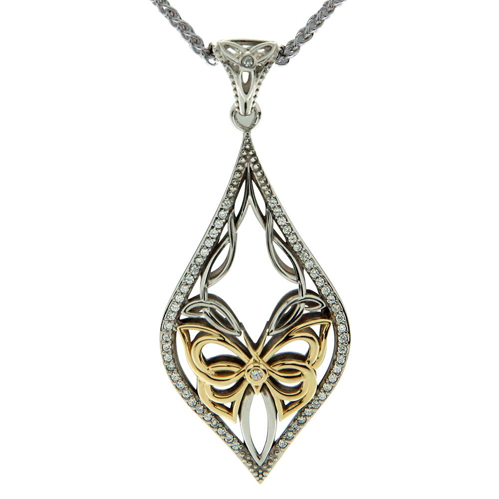 Keith Jack Jewelry-Cocooned Butterfly Necklace, Sterling Silver, 10k Gold & White Cubic Zirconia