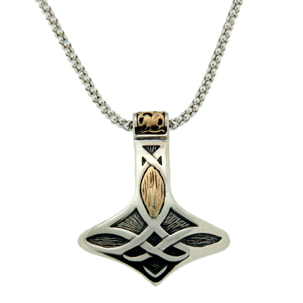 Thor's Hammer Necklace, Sterling Silver & 10k Gold
