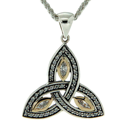 Trinity Knot Necklace Small, Sterling Silver & 10k Gold