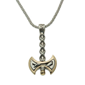 Viking Axe Necklace, Sterling Silver & 10k Gold, Reversible